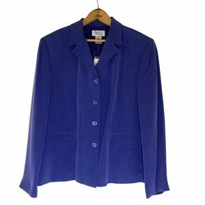 STYLE&CO COLLECTION Blue Silk Suit Jacket 12P NWT